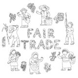 Fair trade doodles stock illustration