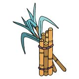 Sugar cane with leaves in doodle style with stroke stock photo
