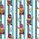 Seamless pattern with cotton bolls collector against lined background stock images