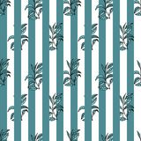 Seamless pattern with tea plants and lines stock photo