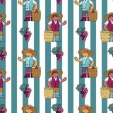 Seamless pattern with vine yard owner against lined background royalty free stock image