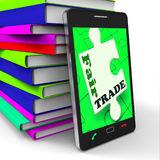 Fair Trade Smartphone Shows Purchasing Ethical Fairtrade Goods Stock Photography