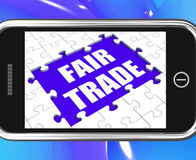 Fair Trade Tablet Means Shop Or Buy Fairtrade Stock Photo