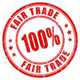 Fair trade vector rubber stamp. Fair trade 100 guarantee vector rubber stamp stock illustration