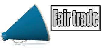 Fair trade word on blue megaphone. 3D rendering vector illustration