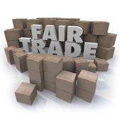Fair Trade Words 3d Letters Cardboard Boxes Responsible Business. Fair Trade 3d Words surrounded by cardboard boxes as imports or exports from a responsible Royalty Free Stock Photography