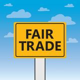 Fair trade written on a billboard. Vector illustration stock illustration