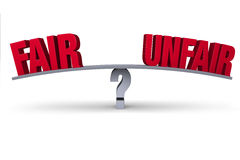 Fair Or Unfair?. A red FAIR and UNFAIR sit on opposite ends of a gray board balanced on a gray question mark.  on white Royalty Free Stock Photos