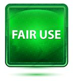 Fair Use Neon Light Green Square Button. Fair Use Isolated on Neon Light Green Square Button royalty free illustration