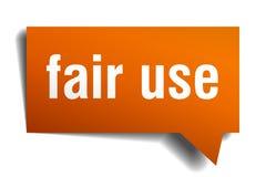 Fair use orange 3d speech bubble. Fair use orange 3d square isolated speech bubble stock illustration