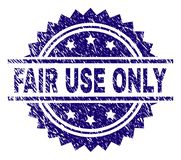 Scratched Textured FAIR USE ONLY Stamp Seal. FAIR USE ONLY stamp seal watermark with distress style. Blue vector rubber print of FAIR USE ONLY tag with grunge vector illustration