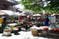 The fair. The villages and towns in the market, selling agricultural products Stock Image