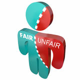 Fair Vs Unfair Justice Right Wrong Person Words. 3d Illustration Stock Image