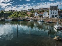 Fair Weather at Crail Harbor, Aberdeenshire, Scotland Stock Photos