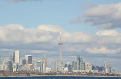 Fair weather cumulus Toronto skyline sunny day Stock Images
