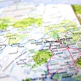 Fairbanks Alaska. A map with the focus on Fairbanks, Alaska royalty free stock image