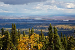 Fairbanks in Fall. View of Fairbanks, Alaska and the Tanana River in Fall royalty free stock image