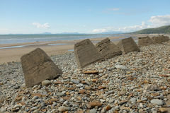 Fairbourne sea defences. Royalty Free Stock Image