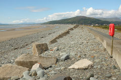 Fairbourne sea defences. Royalty Free Stock Images
