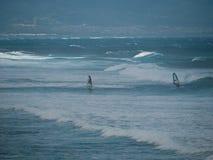 Faire de la planche à voile à la plage Maui de Hookipa Photo libre de droits