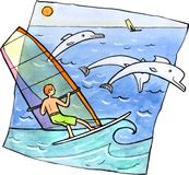 Faire de la planche à voile avec des dauphins Photographie stock libre de droits