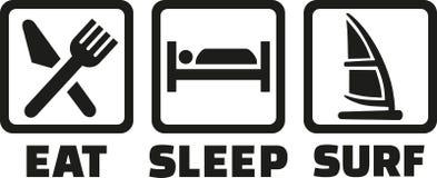 Faire de la planche à voile mangent le ressac de sommeil illustration stock