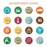Faire de la publicité de longues icônes d'ombre Photos libres de droits