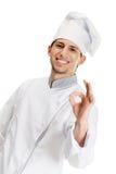 Faire des gestes correct de cuisinier de chef Photographie stock libre de droits