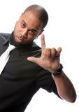 Faire des gestes d'homme d'Afro-américain Photo stock