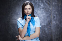 Faire des gestes de femme blanche Photo stock
