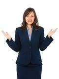 Faire des gestes de femme d'affaires Photos stock