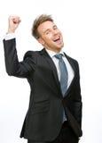Faire des gestes exécutif heureux de poings Image libre de droits