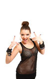 Faire des gestes sexy de jeune femme du signe de rock d'isolement sur le whi Photos stock