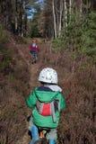 Faire du vélo dans les les bois images libres de droits