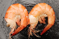 Faire frire des crevettes Images libres de droits