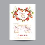 Faire gagner la datte Carte de mariage Fleurs et grenades tropicales illustration libre de droits