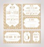 Faire gagner la datte Ensemble de cartes d'invitation de mariage illustration de vecteur