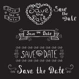 Faire gagner la datte Invitation de mariage Ensemble romantique tiré par la main Vint illustration libre de droits
