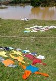 Faire la blanchisserie au Madagascar Image libre de droits