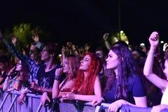 Faire la fête la foule en cercle d'or à un concert Photographie stock