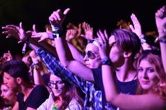 Faire la fête la foule en cercle d'or à un concert Images stock