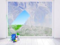 Faire le ménage à la maison contre les jeunes jaunes blancs de source de fleur de concept de fond Photos stock