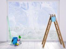 Faire le ménage à la maison contre les jeunes jaunes blancs de source de fleur de concept de fond Photo stock