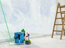 Faire le ménage à la maison contre les jeunes jaunes blancs de source de fleur de concept de fond Image libre de droits