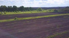 Faire pousser le champ agricole avant de semer Clip Vue supérieure du champ tracé avant ensemencement banque de vidéos