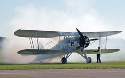 Fairey Swordfish starts its engine Stock Photo