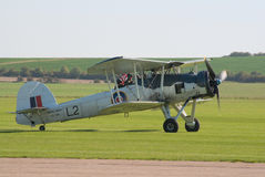 Fairey Swordfish taxis to the flight lane Stock Image