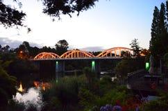 Fairfield Bridge, Hamilton, Waikato, New Zealand. Fairfield Bridge, example of a Tied Arch structure, on Waikato River, Hamilton, New Zealand shows lights & Stock Photo