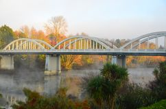 Fairfield Concrete Arch Bridge, Hamilton, New Zealand. Tied arch bridge design across Waikato River in Hamilton New Zealand. Reinforced concrete arch structure Royalty Free Stock Image