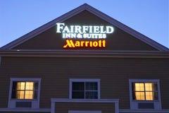 Fairfieldherberg & van Reeksenmarriott teken in New Bedford royalty-vrije stock afbeelding